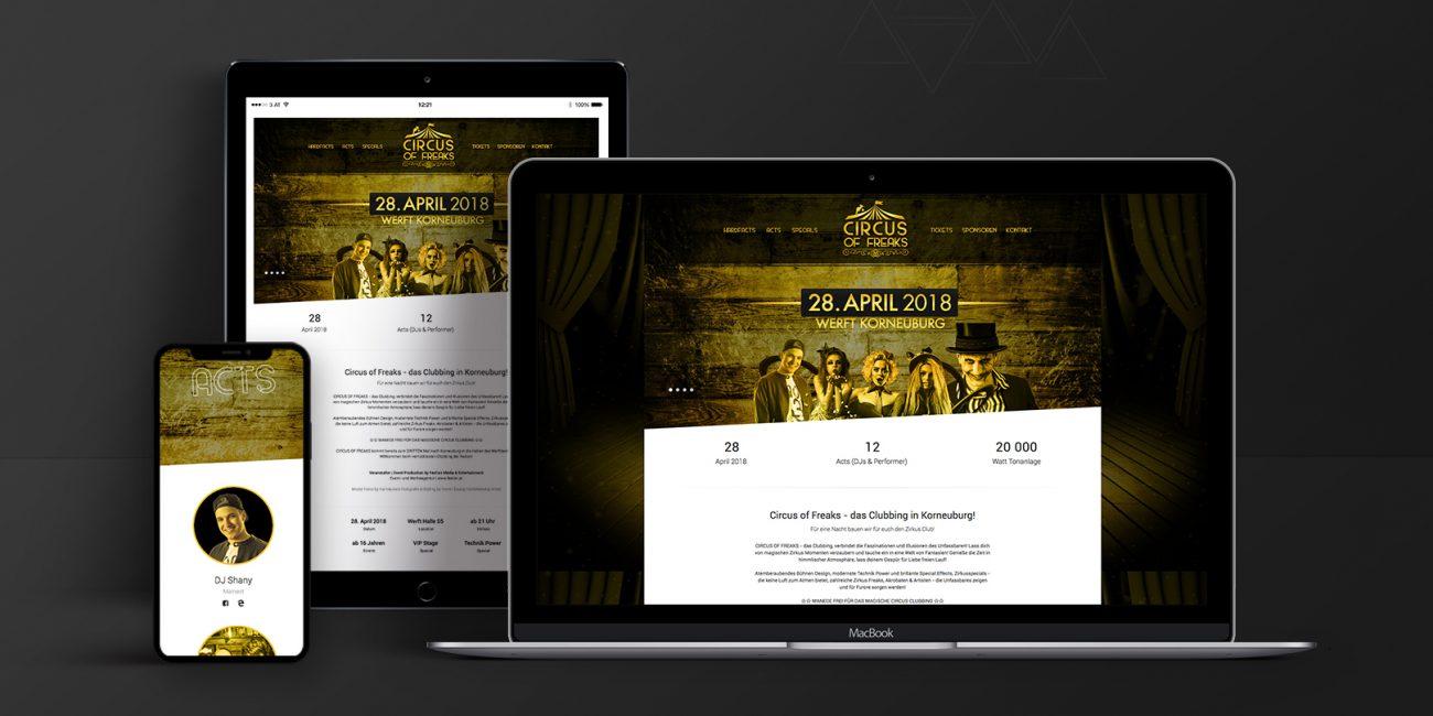 Webdesign & Website - Circus of Freaks